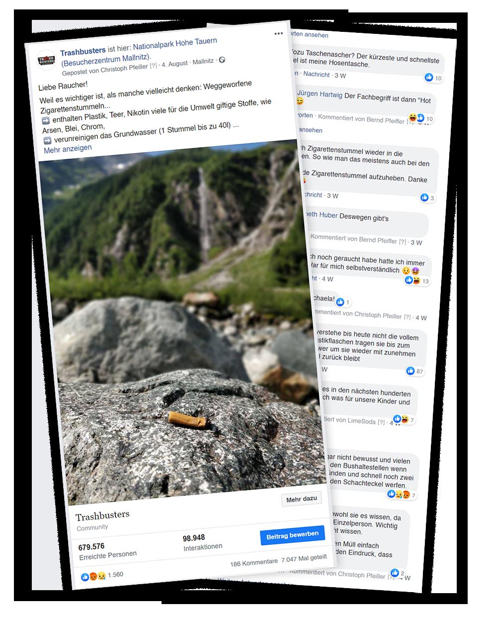 Facebook Post zu Zigarettenstummeln